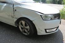 Dopravní nehoda za Osekem u Sobotky.