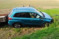Havárie osobního vozu v kopidlenské části Pševes.