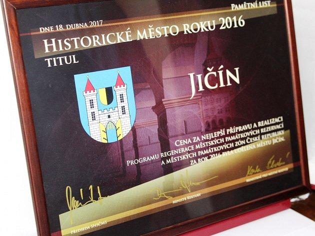 Jičín získal titul Historické město roku 2016