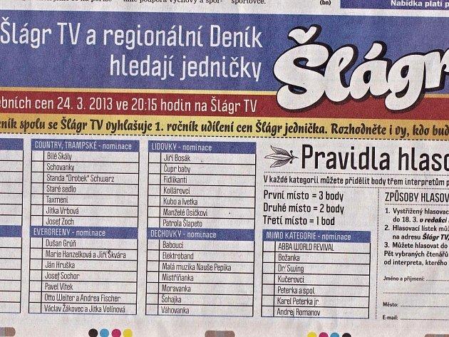Hlasovací kupon pro jedničky TV Šlágr.