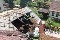 Požár rodinného domu ve Vidochově.