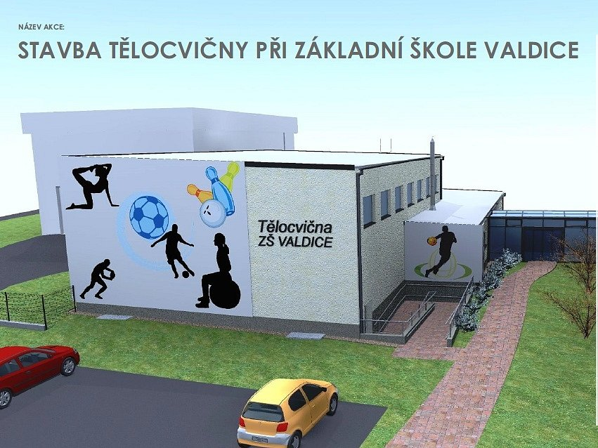Vizualizace nové tělocvičny u valdické školy.