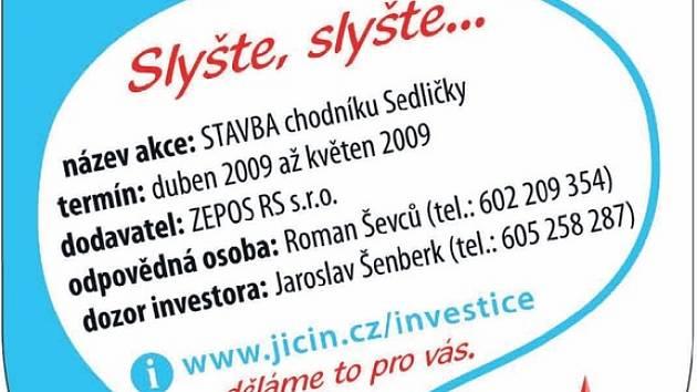 Informační tabule o pracích, které provádí město Jičín.