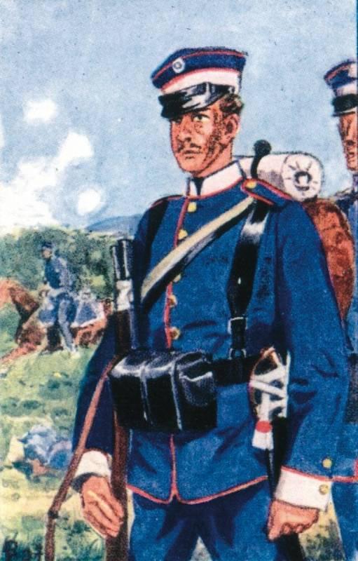 Saský vojín 1. pěší brigády.