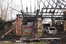 Požár rodinného domu v Březovicích.