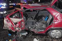 Nehoda tří osobních aut u Kumburského Újezdu.