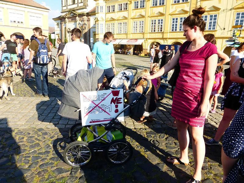 Úterní protestní akce na Valdštejnově náměstí.