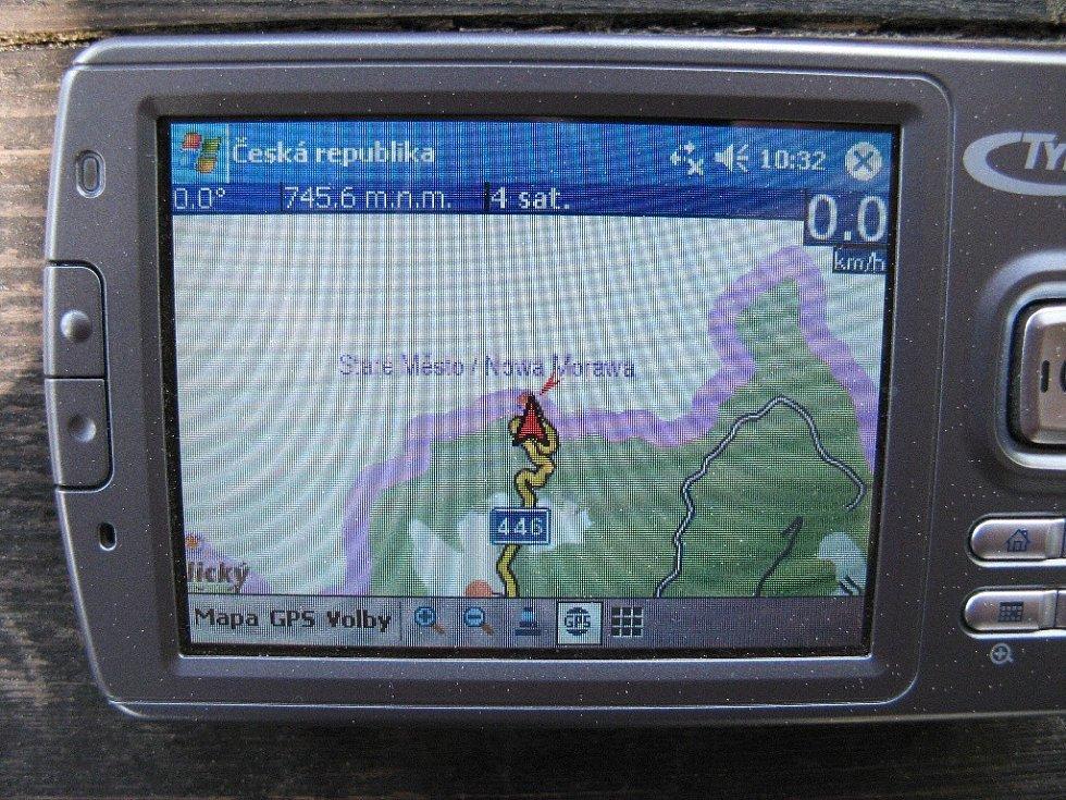 Kladské sedlo - na GPS mapě.