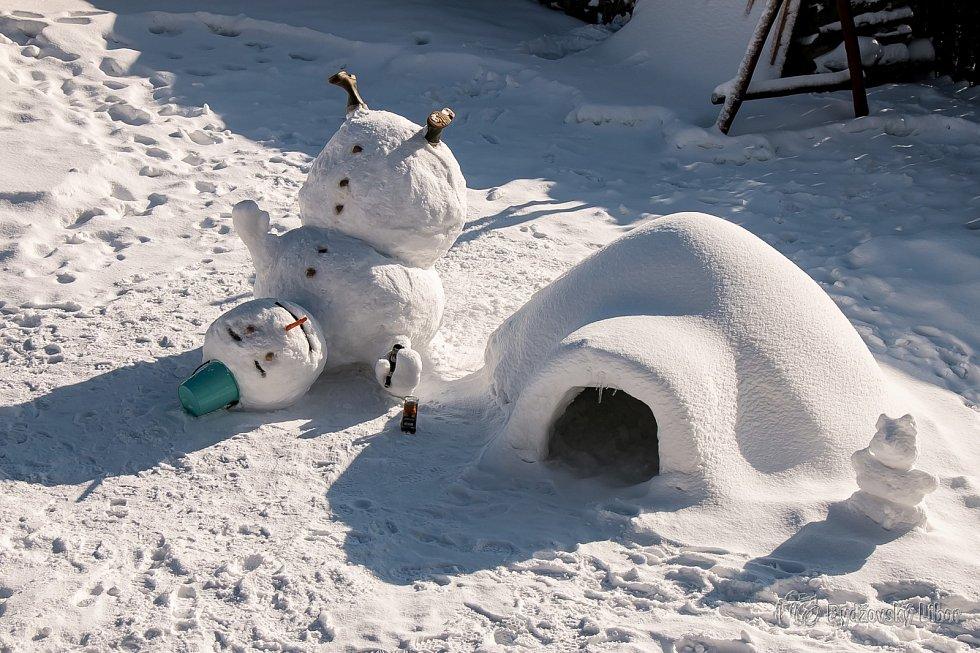 Sociální sítě se plní snímky různých sněhuláků.