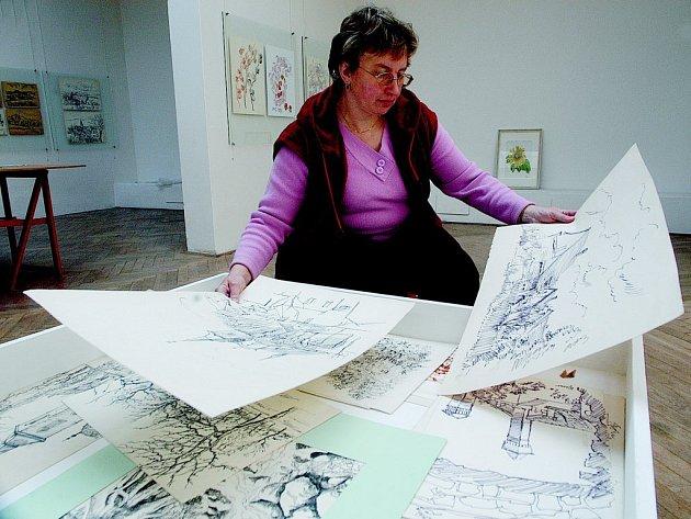 Odborná pracovníce hořického muzea Oldřiška Tomáčková s grafikami Oskara Teimera.