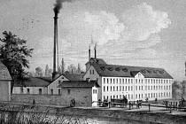 Třebovětický cukrovar, založený roku 1851 (vyobrazení z první poloviny 60. let 19. století).
