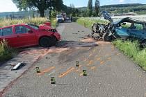 Střet dvou aut u Sobčic.