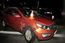 Nehoda na kruhovém objezdu v ulici M. Koněva.