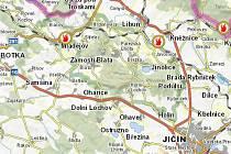 Žádný žhář, ale lokomotiva! Na pěti místech Jičínska, jak ukazuje mapa, vznikly ve středu během dvou hodin požáry suchého travního porostu.