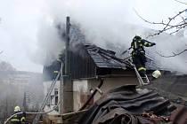 Požár domu v Borovnici.