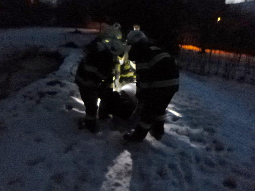 Dvě jednotky hasičů zachránily život tonoucí krávě, která uvízla v rybníčku.