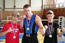 Jičínští boxeři zleva Jakub Chval, Martin Křelina a Martin Stehlík.