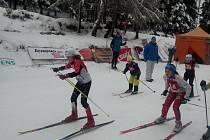 ELIŠKA PETERKOVÁ při startu na Pražském přeboru v běhu na lyžích.