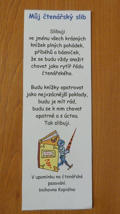 Pasování prvňáčků v Kopidlně.