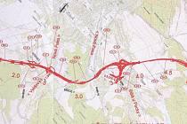 Plán obchvatu Nové Paky, část kolem Štikova.