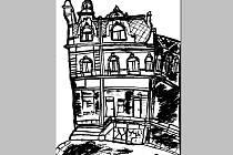 Kresba domu na novopackém náměstí.