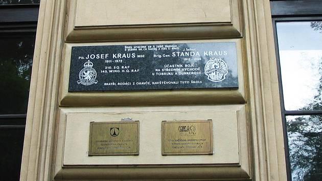 Pamětní deska Josefu a Stanislavu Krausovým.