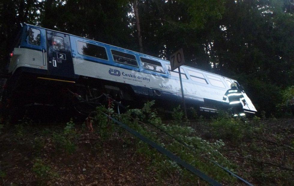 Vlak po nárazu do stromu vykolejil