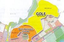 Plán umístění nového golfového hřiště o rozloze 80 hektarů.