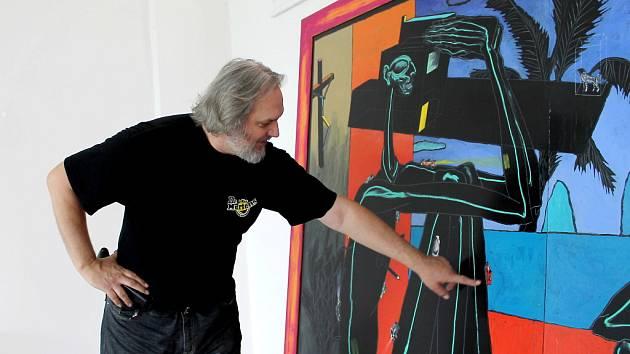 Malíř Boris Jirků vystavuje.