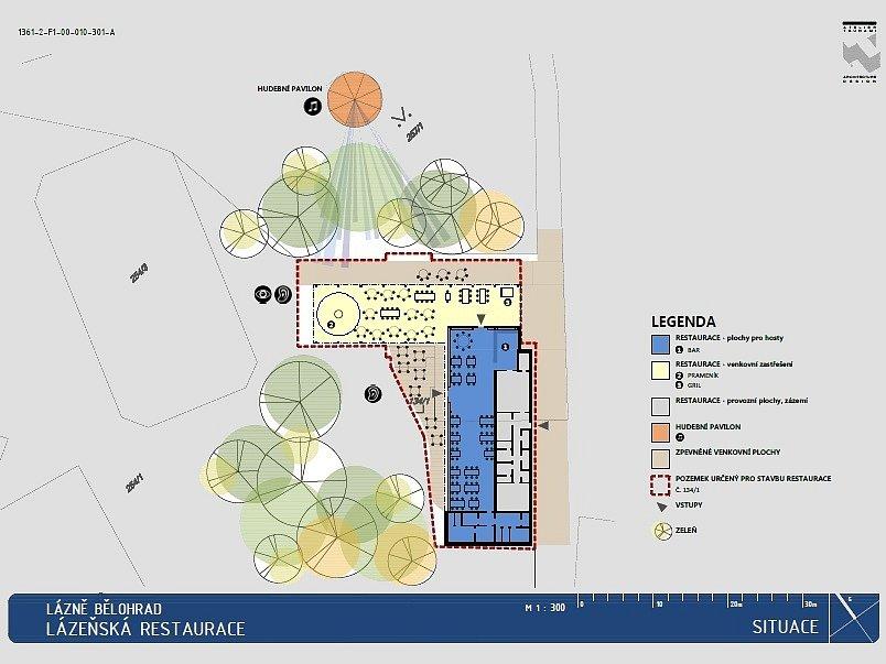 Plán objektu restaurace v Bažantnici.