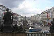 Pohled na Václavské náměstí v Praze.