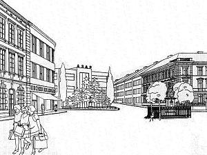 Nákres Komenského náměstí od architekta Čeňka Musila.