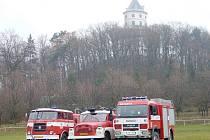 Současná technika soboteckých hasičů: zleva Škoda RTH 706–CAS, Tatra 148–CAS 32 a MAN–CAS 16.