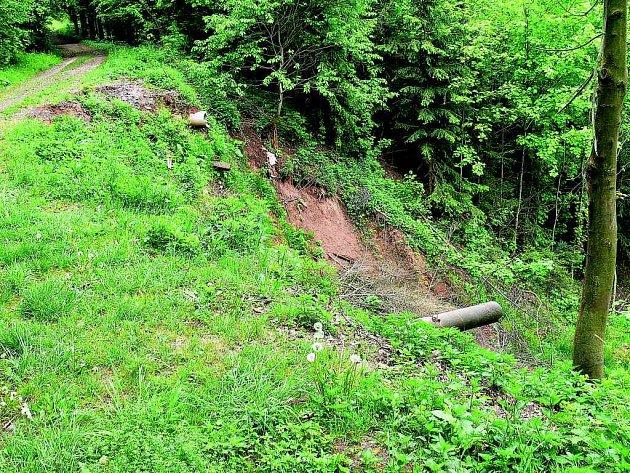 Sesuv půdy v parku Sýkornice.