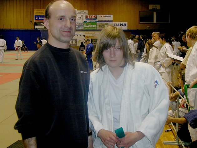 Judistka Denisa Vávrová s trenérem Petrem Sýkorou.