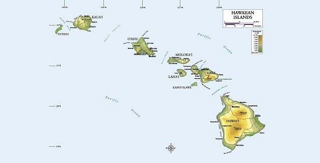 Mapa Havajských ostrovů.