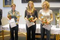 Kategorii dospělých ovládly ženy. Vlevo vítězka orientační běžkyně Dana Brožková, uprostřed atletka Petra Šindelářová a zcela vpravo další orientační běžkyně Radka Brožková.