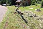 Z místa tragické nehody na Rallye Orlické hory.