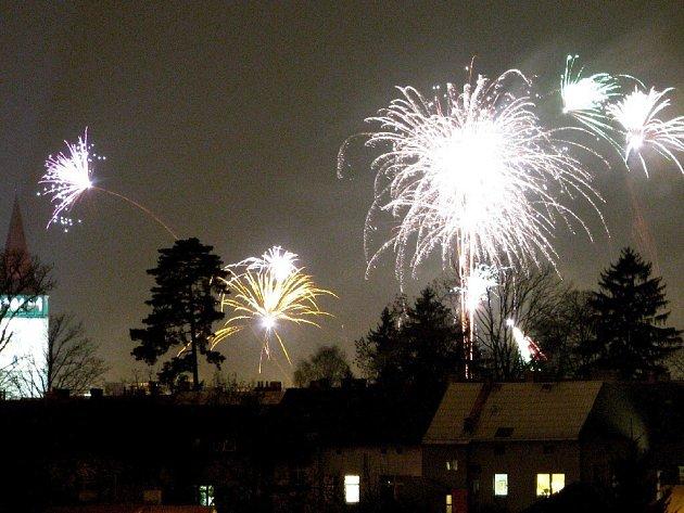 Novoroční ohňostroj v Jičíně.