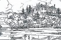 Staré Hrady v kresbě Františka Škody.