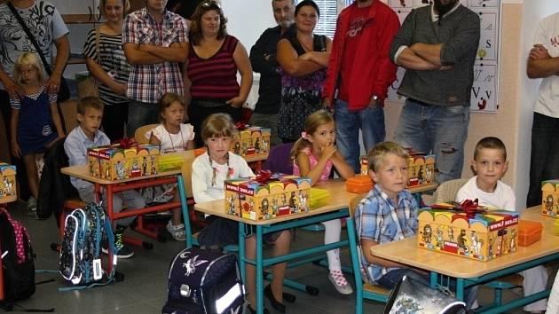 První školní den v sobotecké škole.