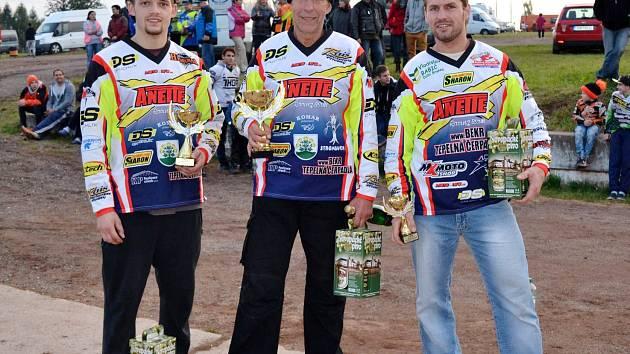 Vítězové motokrosu ve Štikovské rokli.