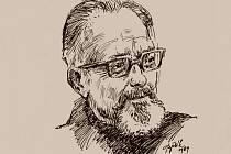 Spisovatel Josef Věromír Pleva na ilustraci Stanislava Bělíka.