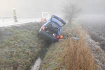 Na zledovatělé silnici dostal řidič smyk a narazil do mostku.