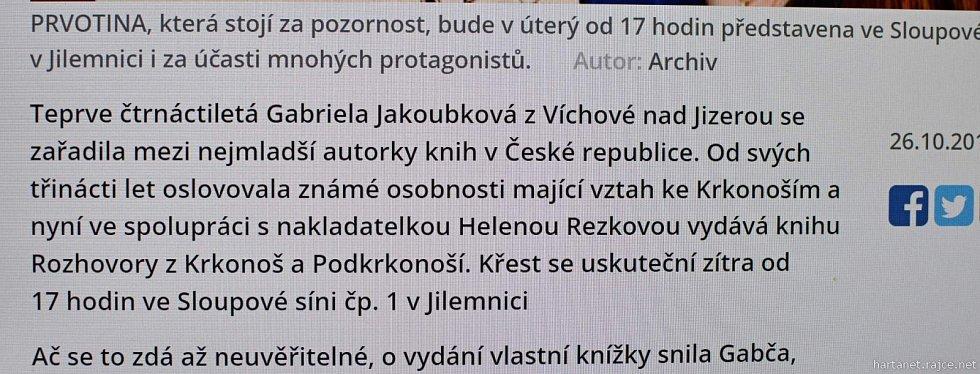 Křest knihy Gábiny Jakoubkové v Jilemnici.