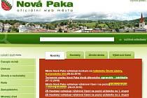 Titulní strana oficiálního webu města Nová Paka.