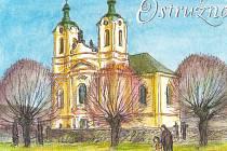 Pohlednice Ostružna od malíře Jiřího Škopka.