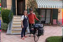 Ivan Pírko na kole v Itálii.