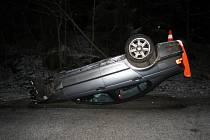 Nehoda vozidla BMW u Prachova.