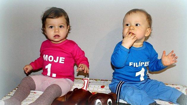 Filípek a Nelinka slavili první narozeniny společně
